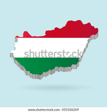 Illustration of flag color Hungary on map.Vector illustration flat style.