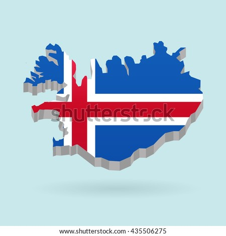 Illustration of flag color Iceland on map.Vector illustration flat style.