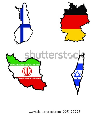 Illustration of flag in map of Finland,Germany,Iran,Iraq
