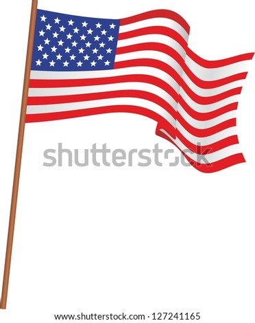 Illustration of flag of the USA - stock vector