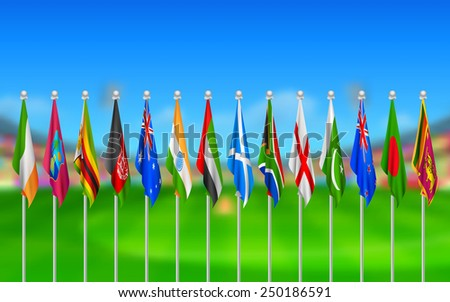illustration of Flags of participating countries of cricket 2015 - stock vector