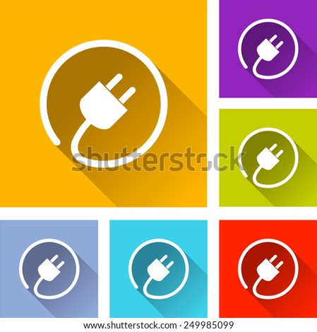 illustration of flat design set icons for electric plug - stock vector