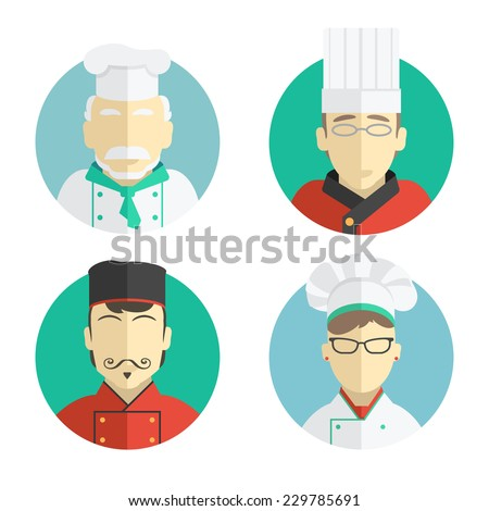 illustration of flat design. the chef icons collection - stock vector