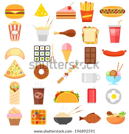 illustration of flat fast food icon on white background - stock vector