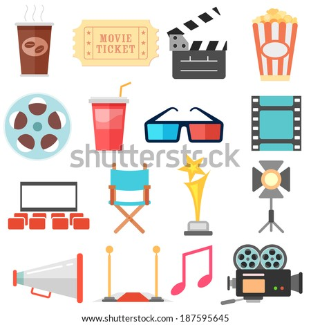 illustration of flat style movie and film icon set - stock vector