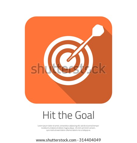 Illustration of Flat Vector Target Hit the Goal Icon with Long Shadow. Dartboard Success bullseye Icon for your Smartphone App - stock vector