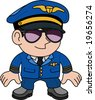 Illustration of flight pilot in sunglasses - stock vector