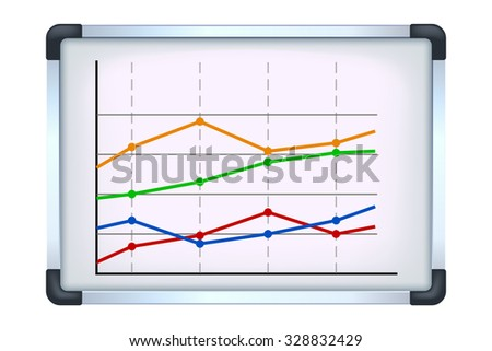 illustration of flipchart with some graph on it on white background - stock vector