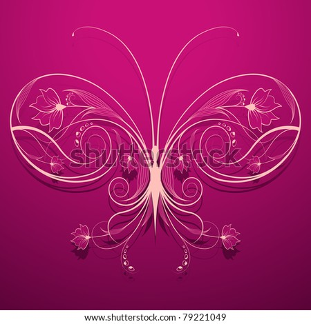 illustration of floral butterfly on abstract background - stock vector