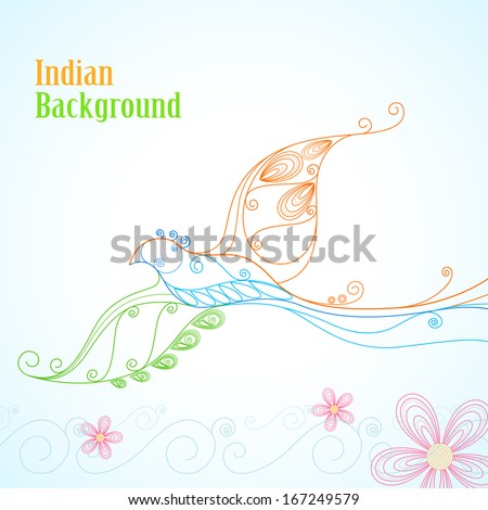 illustration of floral Dove in Indian Tricolor - stock vector