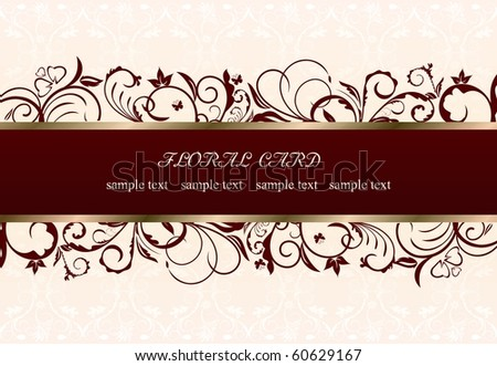 Illustration of floral greeting card. Vector - stock vector