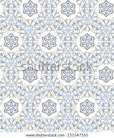 illustration of floral seamless pattern without gradient