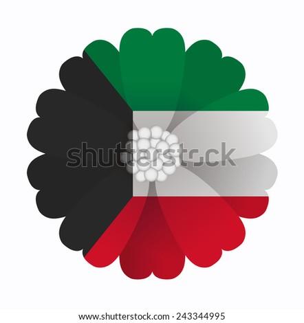 illustration of flower Flag Kuwait - stock vector