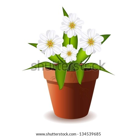 Illustration of flower in pot. - stock vector
