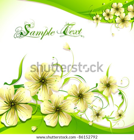 illustration of flower on abstract wavy background - stock vector
