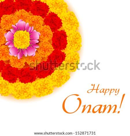 illustration of flower rangoli decoration for Onam - stock vector