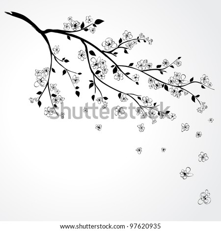 Illustration of flowering branch of Japanese cherry tree - stock vector