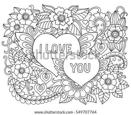 Illustration Of Flowers And Heart With Lettering I Love You For Valentines Day