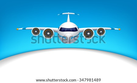 illustration of flying airplane in the blue sky with white color half - stock vector