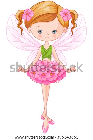 Illustration of flying beautiful flower fairy  - stock vector