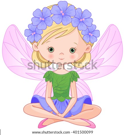 Illustration of flying beautiful spring fairy  - stock vector