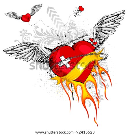 illustration of flying heart with flame and grungy element - stock vector
