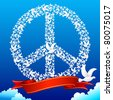 illustration of flying pigeon forming peace symbol in sky - stock
