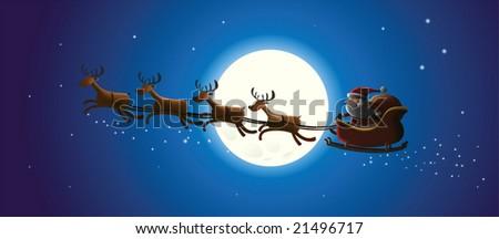 Illustration of Flying Santa and Christmas Reindeer - stock vector