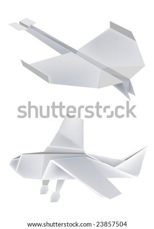 Illustration of folded paper models, airplanes on white background, Vector illustration. - stock vector