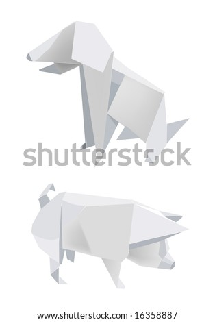 Illustration of folded paper models, pig and dog on white background, Vector illustration.