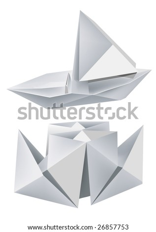 Illustration of folded paper models steamboat and sailboat. Vector illustration.