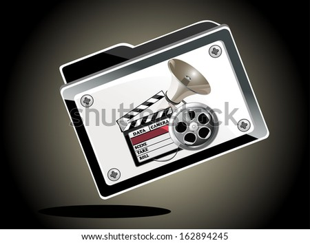 illustration of folder full of entertainment and cinema object - stock vector
