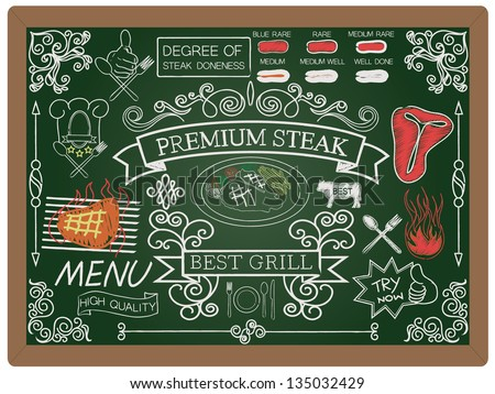 illustration of food, steak and menu design icon element collection set written on blackboard background vector, eps10 - stock vector