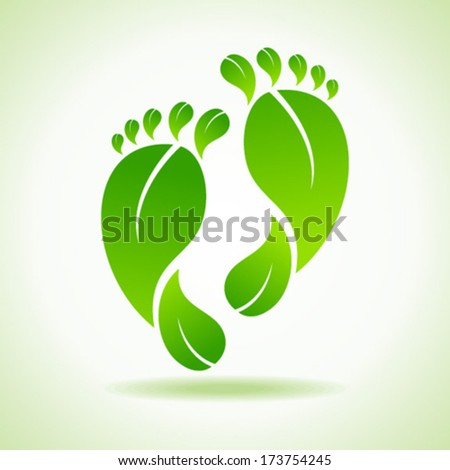 Illustration of foot made by green leaves  - stock vector