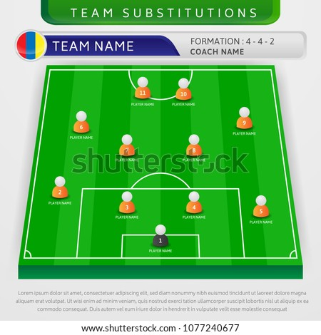 illustration football team substitutions formation template stock