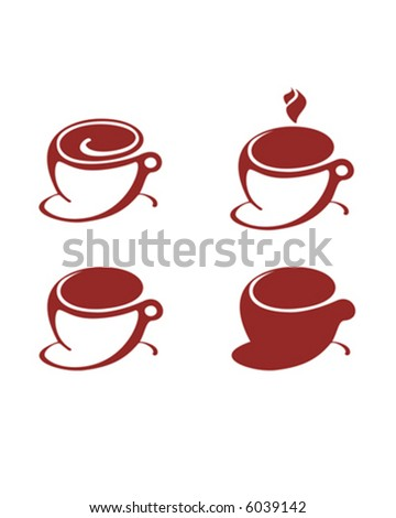 Illustration of four Brown Coffee Cups with dark, latte, steaming coffee. Isolated on white background