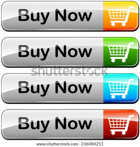 illustration of four buy buttons on white background - stock vector