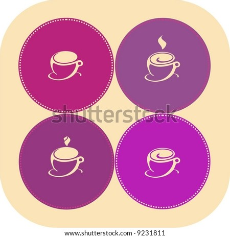 Illustration of four Coffee Cups on colourful background. Perfect for a logo design
