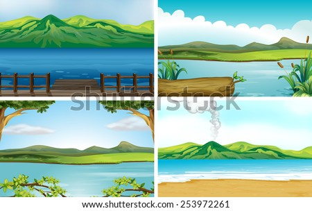 Illustration of four different scene of lakes - stock vector
