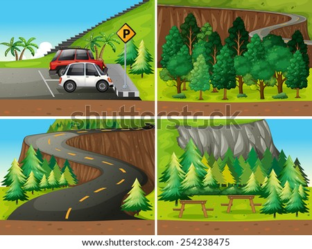 Illustration of four different scenes of parks and road trip - stock vector