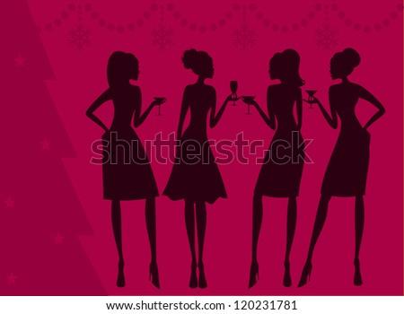 Illustration of four elegant women celebrating Christmas. - stock vector