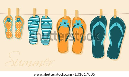 Illustration of four pairs of flip-flops. Family summer vacation concept. - stock vector