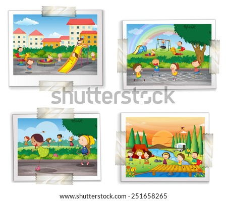 Illustration of four photos of childhood memory - stock vector
