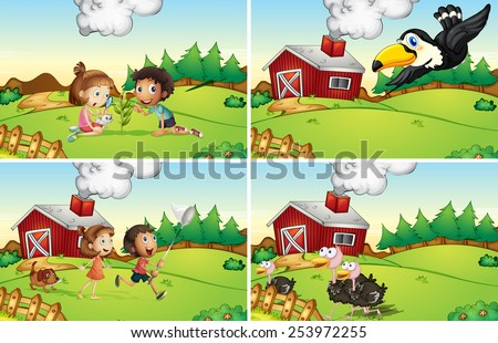 Illustration of four scenes from the farm - stock vector