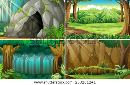 Illustration of four scenes of forests and a cave - stock vector