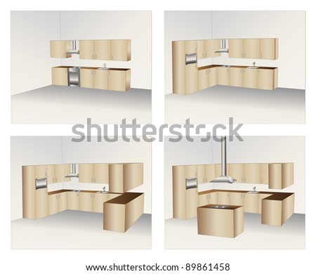 Illustration of four variants of wood kitchen cabinets - stock vector