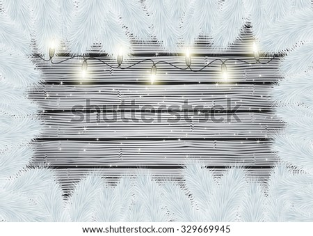 Illustration of frame from white Christmas tree branches and lights on wooden background - stock vector