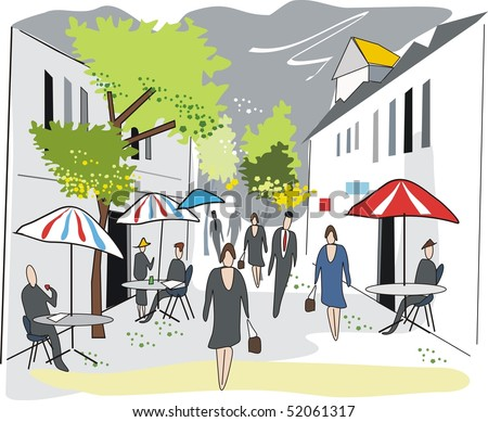 Illustration of French cafe street scene with outdoor tables.