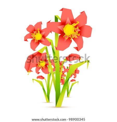 illustration of fresh flower in origami style on abstract background - stock vector