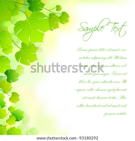 illustration of fresh green leaf forming nature background - stock vector